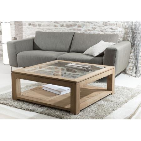 table basse carr e plateau vitr meubles macabane meubles et objets de d coration. Black Bedroom Furniture Sets. Home Design Ideas