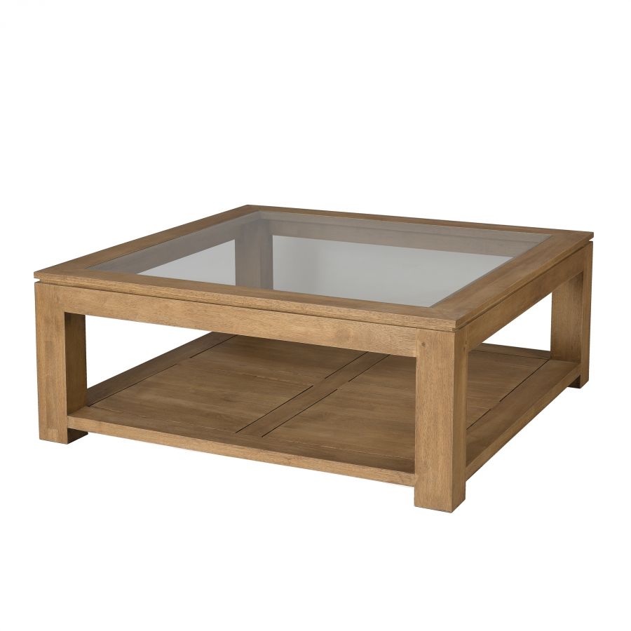 Table basse carr e plateau vitr meubles macabane for Vitre pour table basse