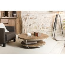 Table basse coque blanche double plateau 100 x 100 cm