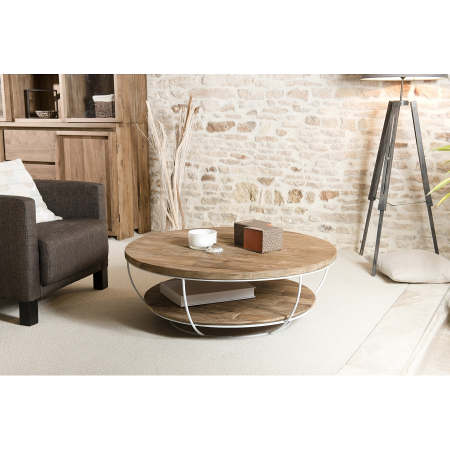 Table basse coque blanche double plateau 100 x 100 cm for Table basse design 100 x 100
