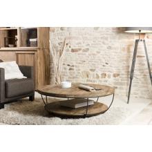 Table basse coque noire double plateau 100 x 100 cm