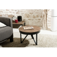 Table basse ronde d'appoint 50 x 50 cm bois et métal