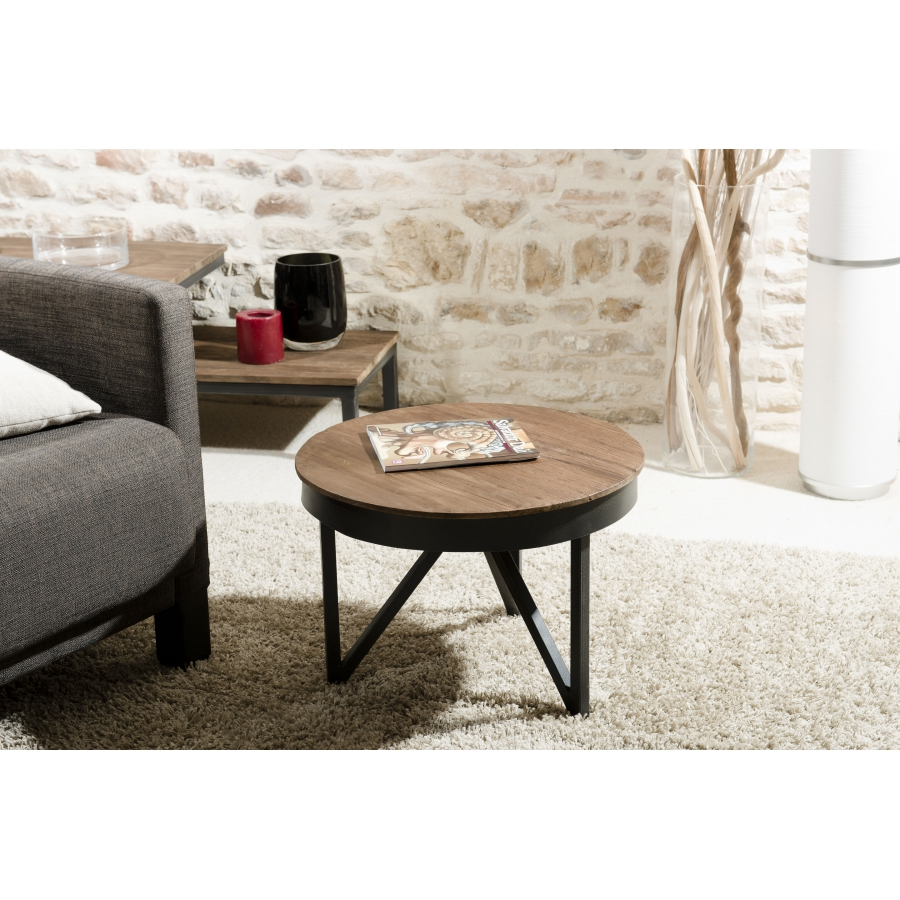 table basse ronde d 39 appoint 50 x 50 cm bois et m tal. Black Bedroom Furniture Sets. Home Design Ideas