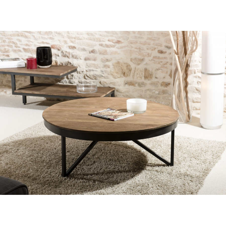 table basse ronde 90 x 90 cm bois et m tal meubles. Black Bedroom Furniture Sets. Home Design Ideas
