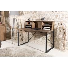 Bureau 2 tiroirs bois et métal avec étagères