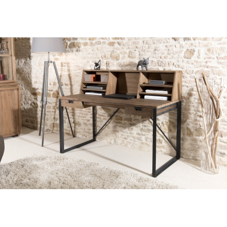 bureau 2 tiroirs bois et m tal avec tag res meubles. Black Bedroom Furniture Sets. Home Design Ideas