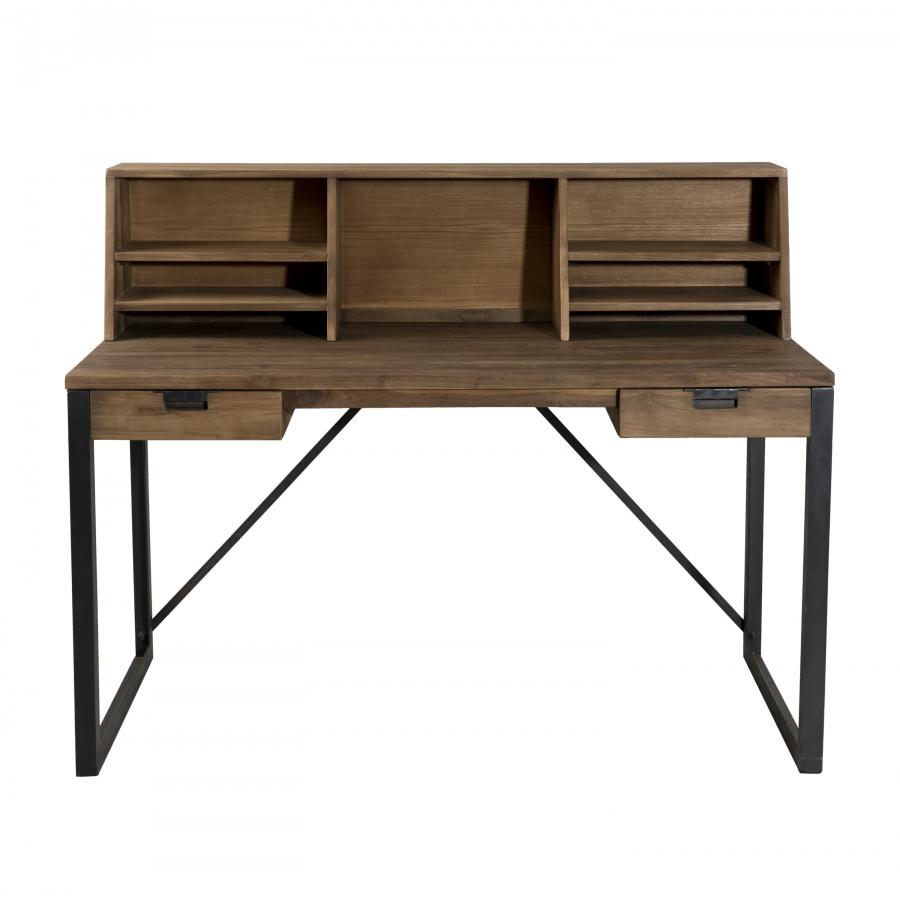 Bureau 2 tiroirs bois et m tal avec tag res meubles for Meuble bureau 2 tiroirs