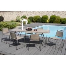 Salon de jardin n°300 comprenant 1 table à manger pieds scandi et 3 lots de 2 chaises empilabes bois et métal
