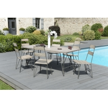 Salon de jardin n°301 comprenant 1 table à manger pieds scandi et 3 lots de 2 chaises scandi bois et métal