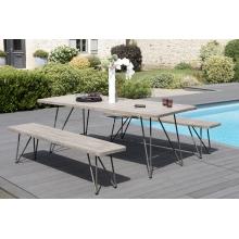Salon de jardin n°302 comprenant 1 table à manger pieds scandi et 2 bancs pieds scandi