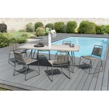 Salon de jardin n°303 comprenant 1 table à manger pieds scandi et 3 lots de 2 chaises empilabes cordage synthétique