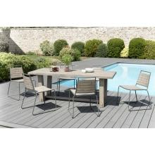 Salon de jardin n°304 comprenant 1 table à manger rectangulaire et 3 lots de 2 chaises empilabes bois et métal