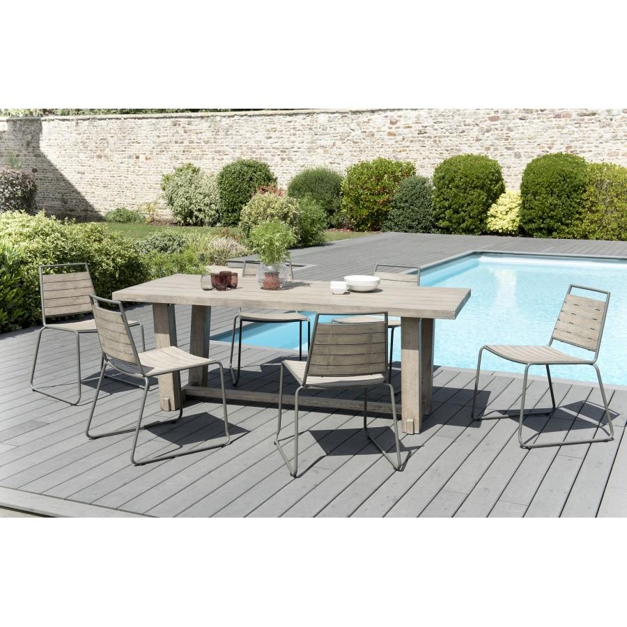 salon de jardin n 304 comprenant 1 table manger rectangulaire et 3 lots de 2 chaises empilabes. Black Bedroom Furniture Sets. Home Design Ideas