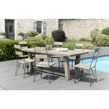 Salon de jardin n°305 comprenant 1 table à manger rectangulaire et 3 lots de 2 chaises scandi bois et métal