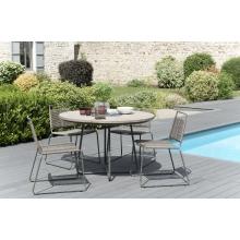 Salon de jardin n°308 comprenant 1 table à manger ronde et 2 lots de 2 chaises empilabes cordage synthétique