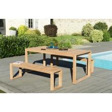 Salon de jardin n°138 comprenant 1 table OSLO 180*90cm couleur naturelle et 2 bancs OSLO 150*35cm couleur naturelle