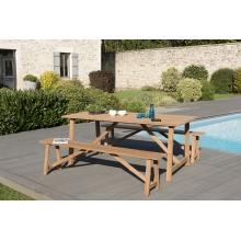 Salon de jardin n°142 comprenant 1 table SOHO 180*90cm couleur naturelle et 2 bancs SOHO 180*25cm couleur naturelle