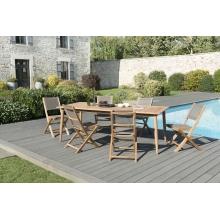 Salon de jardin n°135 comprenant 1 table à manger pieds scandi 220*100cm et 3 lots de 2 chaises pliantes textilène taupe