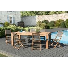 Salon de jardin n°136 comprenant 1 table à manger DENVER 220*100cm et 3 lots de 2 chaises pliantes textilène couleur taupe