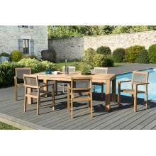 Salon de jardin n°137 comprenant 1 table à manger DENVER 220*100cm et 3 lots de 2 fauteuils empilables textilène taupe