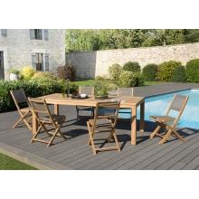 Salon de jardin n°140 comprenant 1 table à manger VIESTE 220*100cm et 3 lots de 2 chaises pliantes textilène couleur taupe