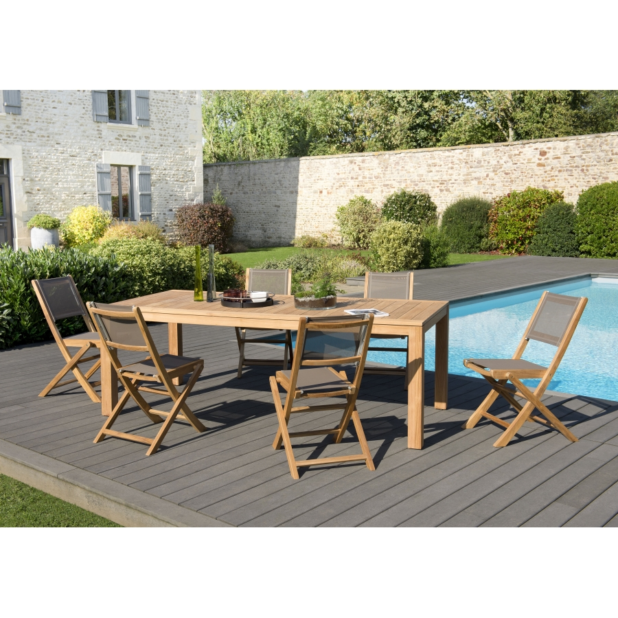 salon de jardin n 140 comprenant 1 table manger vieste 220 100cm et 3 lots de 2 chaises. Black Bedroom Furniture Sets. Home Design Ideas