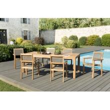 Salon de jardin n°141 comprenant 1 table à manger VIESTE 220*100cm et 3 lots de 2 fauteuils empilables textilène taupe