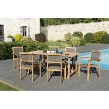 Salon de jardin n°144 comprenant 1 table SOHO 180*90cm couleur naturelle et 3 lots de 2 fauteuils empilables textilène taupe