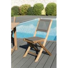 Lot de 2 chaises pliantes textilène couleur taupe