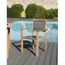 Lot de 2 fauteuils empilables textilène couleur taupe