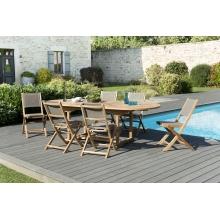 Salon de jardin n°120 comprenant 1 table ovale extensible 180/240*100cm et 3 lots de 2 chaises pliantes textilène couleur taupe