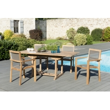 Salon de jardin n°121 comprenant 1 table rectangulaire 120/180*90cm et  2 lots de 2 fauteuils empilables textilène couleur taupe