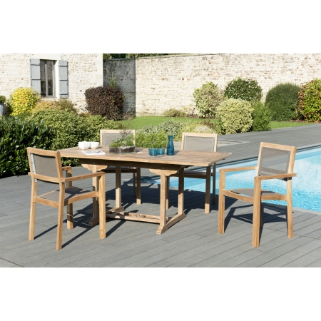salon de jardin n 121 comprenant 1 table rectangulaire 120 180 90cm et 2 lots de 2 fauteuils. Black Bedroom Furniture Sets. Home Design Ideas