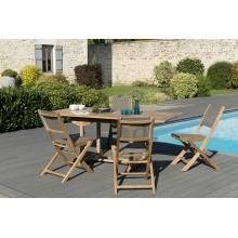 Salon de jardin n°122 comprenant 1 table rectangulaire 120/180*90cm et 2 lots de 2 chaises pliantes textilène couleur taupe