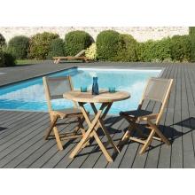 Salon de jardin n°126 comprenant 1 table ronde pliante 80*80cm et 1 lot de 2 chaises pliantes textilène couleur taupe