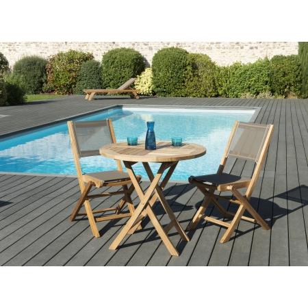 Salon de jardin n°126 comprenant 1 table ronde pliante 80*80cm et 1 ...