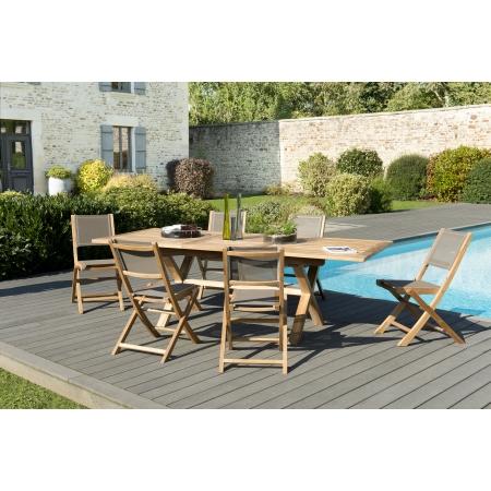 Salon de jardin n°134 comprenant 1 table rectangulaire pieds croisés ...