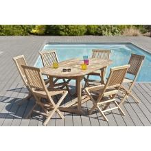 Salon de jardin n°2 en teck comprenant 1 table ovale / 6 chaises java