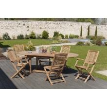 Salon de jardin n°8 en teck comprenant 1 table ovale / 4 chaises lombock / 2 fauteuils lombock