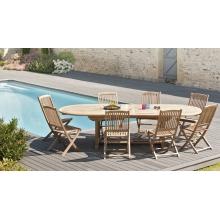 Salon de jardin n°16 comprenant 1 table ovale 8 chaises lombock