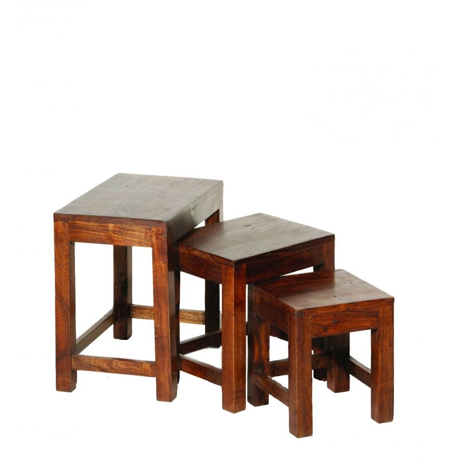Table gigogne indiana acacia meubles macabane meubles et objets de d cora - Table basses gigogne ...