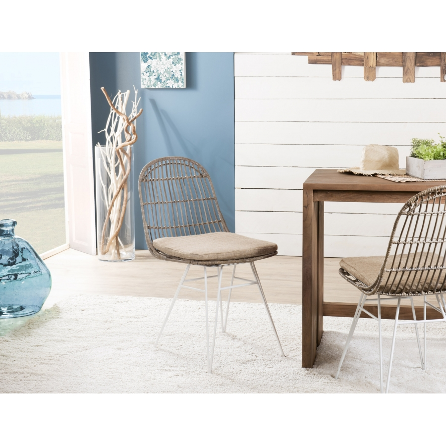 lot de 2 chaises urban rotin/kubu et métal blanc brisbane - meubles