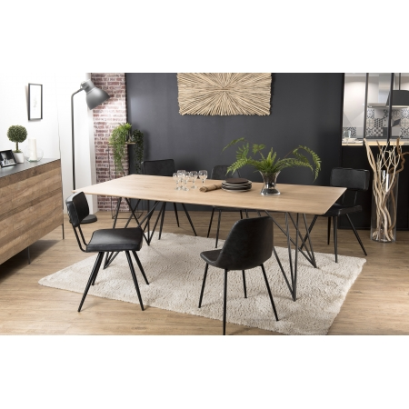 Table manger 220x100 ch ne pieds crois s m tal meubles - Table salle a manger teck ...