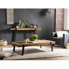 Table basse rectangulaire 140x70cm Teck recyclé et pieds inclinés métal