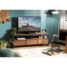 Meuble TV 3 tiroirs et 1 étagère Teck recyclé et métal