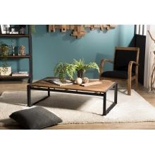 Table basse rectangulaire 120x70cm Teck recyclé pieds métal
