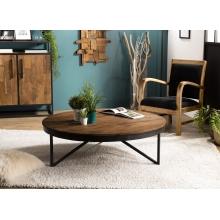 Table basse ronde 110x110cm Teck recyclé pieds métal