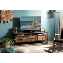 Meuble TV 3 tiroirs 1 étagère Teck recyclé et métal