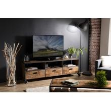 Meuble TV à roulettes 3 tiroirs 3 niches Teck recyclé et métal