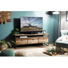 Meuble TV 3 tiroirs Teck recyclé Acacia Mahogany et métal